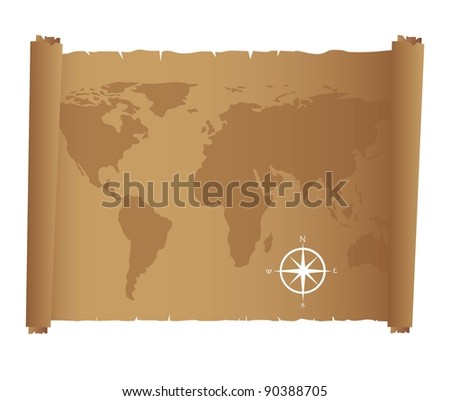 world map over old paper with compass rose. Vector illustration