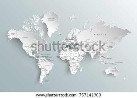World map paper political map world vector de stock757141900 world map paper political map of the world on a gray background countries gumiabroncs Gallery