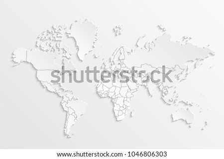 World map paper political map world stock vector 1046806303 world map paper political map of the world on a gray background countries gumiabroncs Image collections