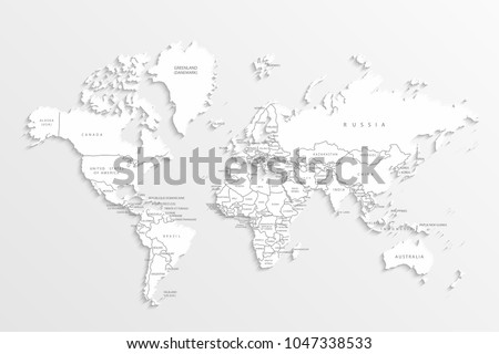 World map paper political map world stock vector 1047338533 world map paper political map of the world on a gray background countries gumiabroncs Image collections
