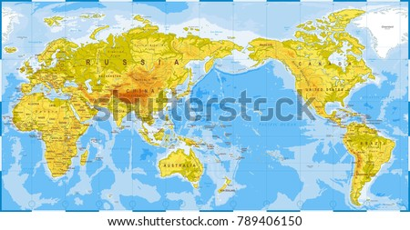 World map physical asia center china stock vector 789406150 world map physical asia in center china korea japan vector gumiabroncs Gallery