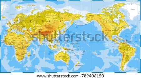World map physical asia center china stock vector royalty free world map physical asia in center china korea japan vector gumiabroncs Choice Image