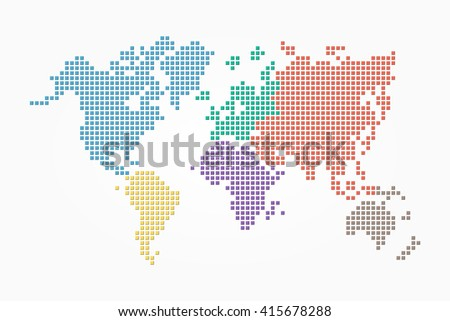World map ( pixel style and flat color design ) ( different color of continent ) - stock vector
