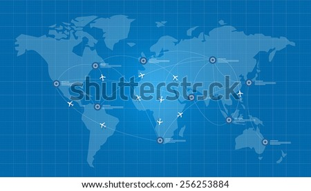 world map plane logistic in blue print network - stock vector