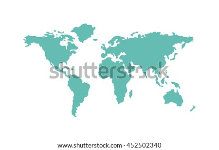World map planet and world map global continents. World map symbol land ocean abstract silhouette. Earth map silhouette world map. World map countries picture travel geography vector - stock vector