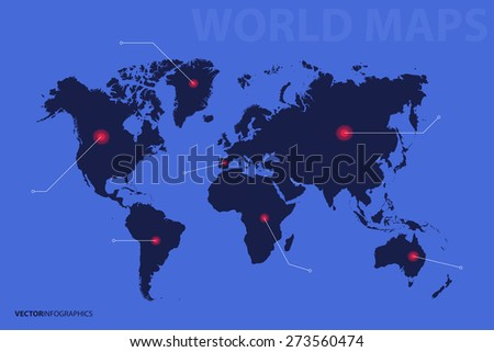 World Map, point, direction. Infographics vector - stock vector