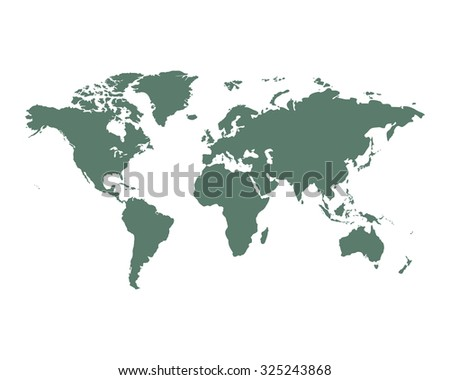 World Map political green on an isolated background. Vector illustration EPS-10 - stock vector