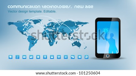 World map political with communication lines. Smartphone touchscreen technology. Design template. Vector. Editable. - stock vector
