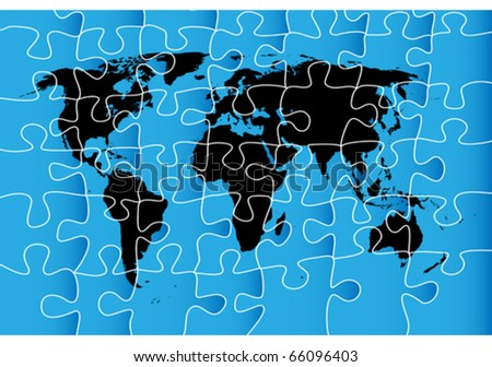 World map puzzle isolated objects over stock vector 66096403 world map puzzle isolated objects over white background gumiabroncs Choice Image