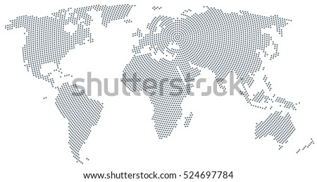 World map stock images royalty free images vectors shutterstock world map radial dot pattern gray dots going from the center outwards and form the gumiabroncs Image collections