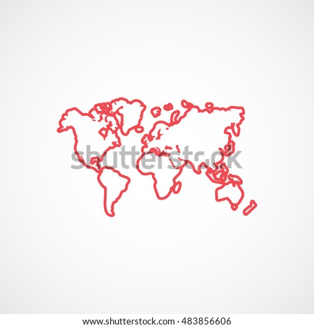World map red flat icon on stock vector 483856606 shutterstock world map red flat icon on white background gumiabroncs Images