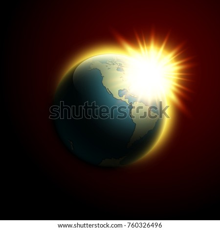 World map rising sun banner globe stock vector 760326496 world map rising sun banner globe icon in space sunlight poster planet earth on gumiabroncs Choice Image