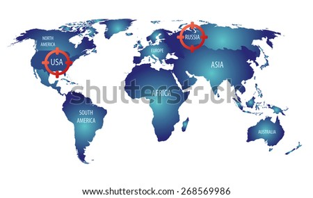 World map russia usa targets cold vectores en stock 268569986 world map russia and usa targets cold war gumiabroncs Image collections