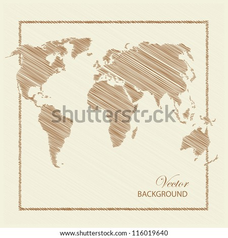 World map scratch colored brown. Vector illustration. - stock vector