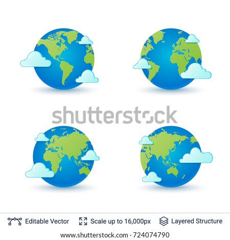 World map set. Earth globe with continents shapes. Vector symbols collection.