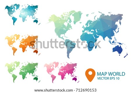 World map set geometric rumpled triangular stock vector 712690153 world map set geometric rumpled triangular low poly style gradient graphic background polygonal design gumiabroncs Images