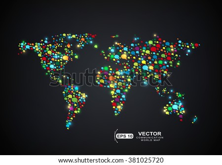 World map shape with colored many bubbles speech - stock vector