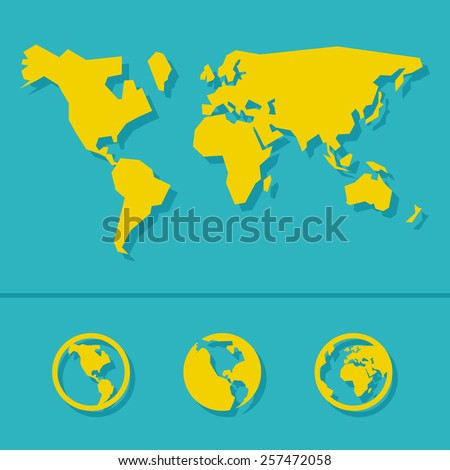 World map sign and icon - stock vector