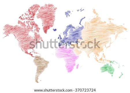 World map sketch - stock vector