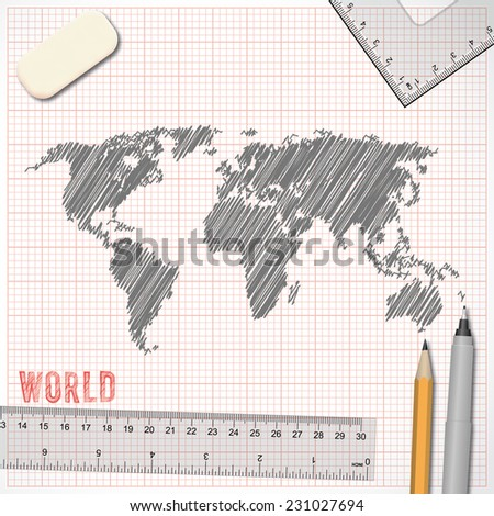 World map sketch effect on graph paper background in vector format - stock vector