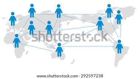 World map Social networking service Vector - stock vector