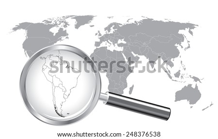 World Map South America Wired Continent with Magnifier Glass - stock vector