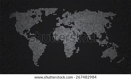 World Map - Squares Random size and rotation gray - stock vector