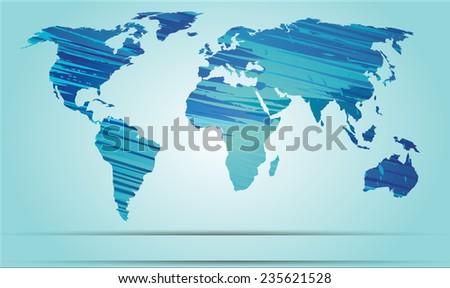 World map strokes blue EPS 10 Vector - stock vector