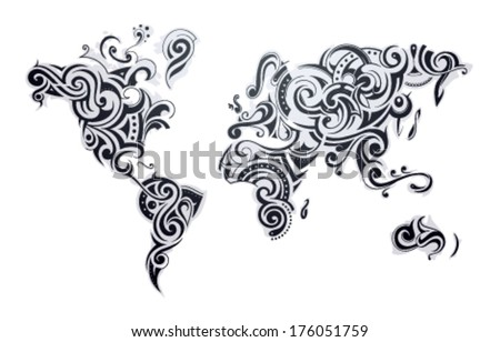World map tattoo our earth one stock vector 176051759 shutterstock world map tattoo our earth as one tribe concept illustration gumiabroncs Image collections