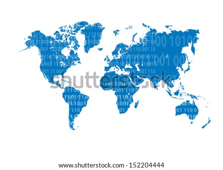 World Map technology background vector with numbers