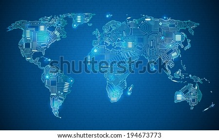 World map technology style digital world stock vector royalty free world map technology style digital world with electronic systems gumiabroncs Images