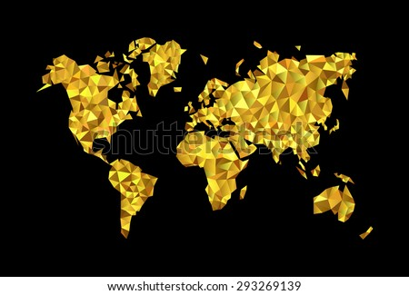World map low poly highprecision polygonal stock vector 293269139 world map the low poly high precision polygonal gold on a black background gumiabroncs Images