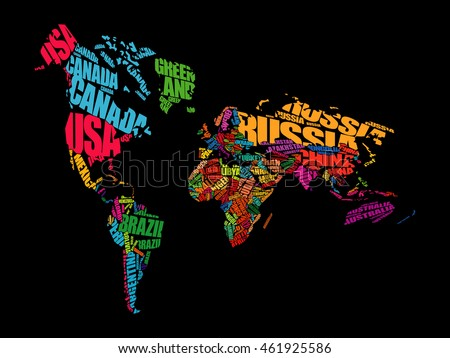 World map typography perspective word cloud stock vector 461925586 world map typography in perspective word cloud concept names of countries gumiabroncs Choice Image