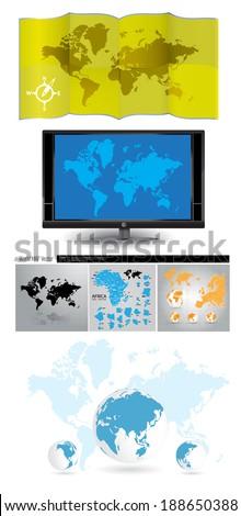 World map, vector - stock vector