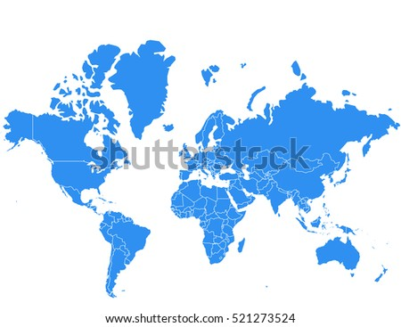 World map, vector