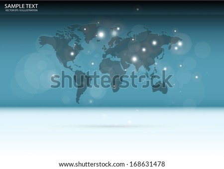 World map vector 3D on reflective background  template - Vector map layout background illustration - stock vector