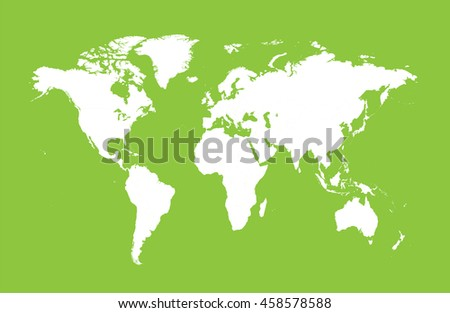 World map vector flat green  - stock vector