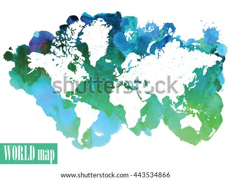 World map vector freehand drawing on stock photo photo vector world map vector freehand drawing on a background of ink spots continents america gumiabroncs Choice Image