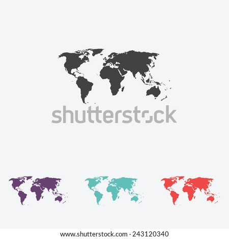 World map vector icon - stock vector