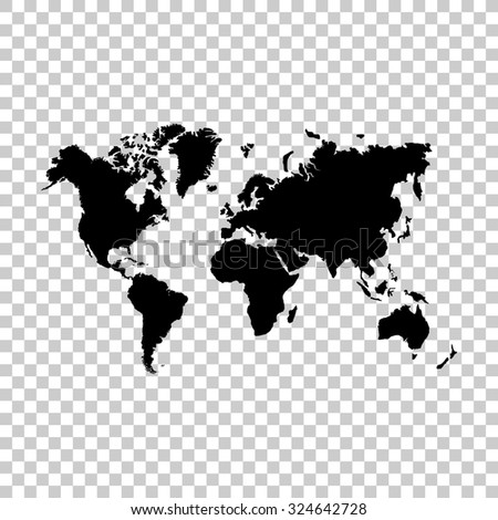 world map vector icon - black illustration - stock vector