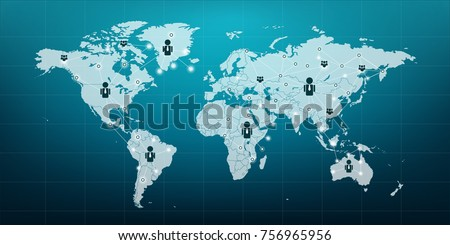 World map vector icon people connect stock vector 2018 756965956 world map vector icon people connect to the network communications network map of the world gumiabroncs Images