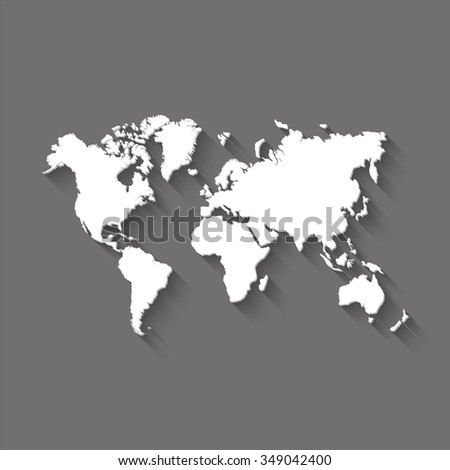 world map vector icon with shadow - stock vector