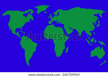 World map vector illustration in green and blue. Simplified and schematic design. - stock vector