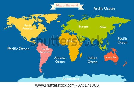 World map vector illustration inscription oceans stock vector world map vector illustration with the inscription of the oceans and continents continents different gumiabroncs Image collections