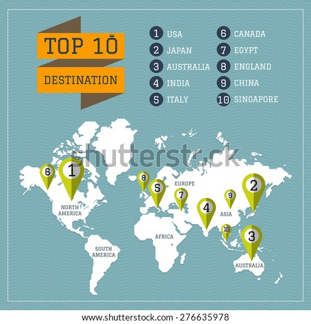World map vector, Infographics top destination in world - stock vector