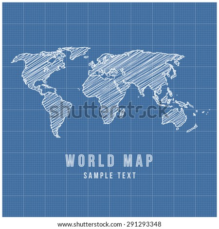 World Map Vector Line Sketch Up with Grid Background - stock vector