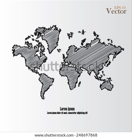 World map   Vector Line sketch Up ,world sketch vector      - stock vector