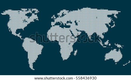 World map vector on blue background. Dotted world map