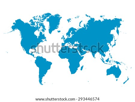 World Map Vector with Fresh Blue Continents on White Background - Planet Earth. - stock vector