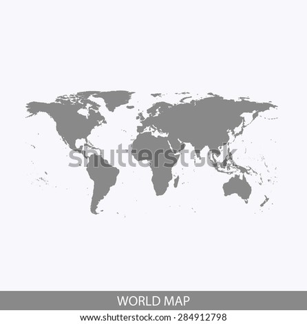 World map vector, World map outlines in contrasted grey background for brochure design and science and publication uses - stock vector